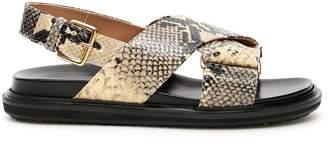 Marni Fussbett Snake Effect Strap Sandals