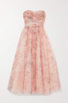 Monique Lhuillier Strapless Metallic Floral-print Tulle Gown - Blush