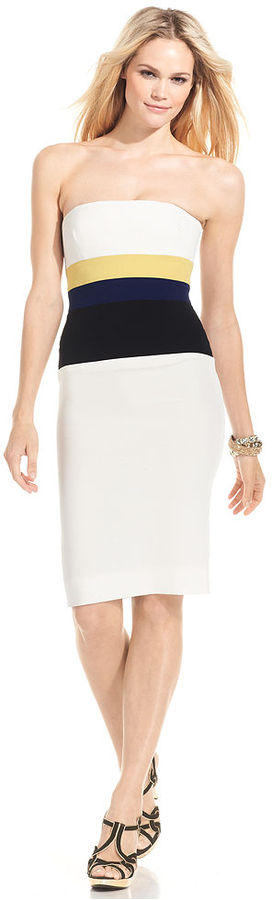 BCBGMAXAZRIA Dress, Strapless Colorblocked Sheath