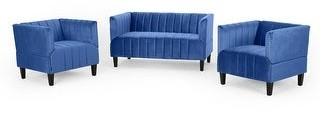Christopher Knight Home Weymouth Contemporary Channel Stitch Velvet Settee and Club Chair Set