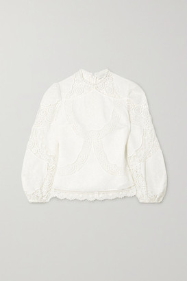 Zimmermann Benita Broderie Anglaise Linen And Cotton-blend Top - Ivory