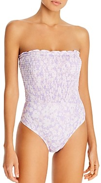 Peony Swimwear Floral Print Strapless Smocked One-Piece Swimsuit - 100% Exclusive