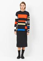 Proenza Schouler Black / Orange / Electric Blue Long Sleeve Crew Neck Sweater