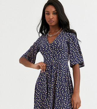 Asos Tall DESIGN Tall floral mini button front swing dress-Navy
