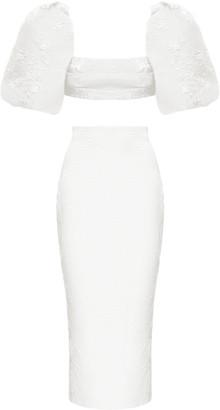 Rasario Puff-Sleeve Draped Jacquard Top And Jacquard Midi Skirt