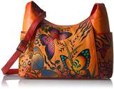 Anuschka Anna by Hand Painted Large Shoulder Bag Animal Butterfly Tangerine