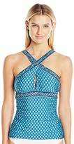 Jantzen Women's Wow Factor Over the Shoulder High Neck Crisscross Tankini