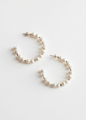 And other stories Organic Pearl Open Hoop Earrings