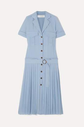 Victoria Victoria Beckham Victoria, Victoria Beckham - Pleated Crepe Shirt Dress - Blue