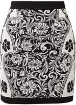 Balmain Jacquard-knit Mini Skirt - Black