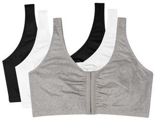 Fruit of the Loom Womens Comfort Front Close Sports Bra, 3 Pack, Style 96014D