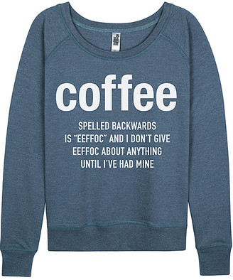 Instant Message Women's Women's Sweatshirts and Hoodies HEATHER - Heather Blue 'Coffee' Slouchy Pullover - Women & Plus