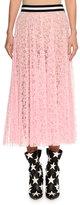 MSGM Lace A-Line Midi Skirt, Pink
