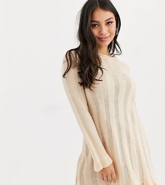 Miss Selfridge Petite knitted swing dress in oatmeal-Beige
