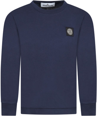 Stone Island Junior Blue T-shirt Fo Boy With Iconic Compass