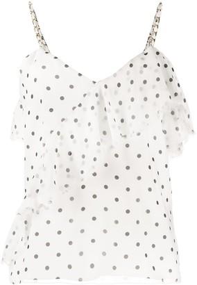 Balmain Ruffled Polka-Dot Print Top