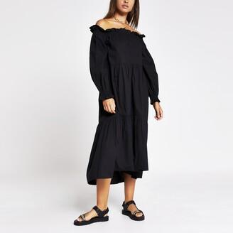 River Island Womens Black long sleeve bardot puff sleeve dress