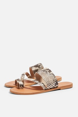 Topshop HONEY Leather Snake Print Flat Sandals