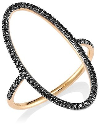 ginette_ny 18K Rose Gold & Black Diamond Open Ellipse Ring