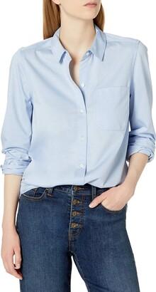 Daily Ritual Women's Standard Knit Long-Sleeve Button-Down Shirt