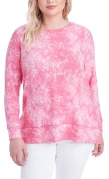 Jessica Simpson Trendy Plus Size Sky Side-Slit Printed Top