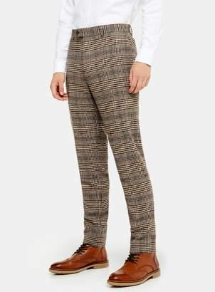 TopmanTopman HERITAGE Brown Check Skinny Fit Suit Trousers