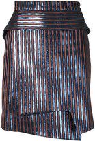 Carven striped metallic wrap skirt - women - Polyester/Metallized Polyester - 36