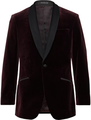 Richard James Burgundy Slim-Fit Shawl-Collar Satin-Trimmed Cotton-Velvet Tuxedo Jacket