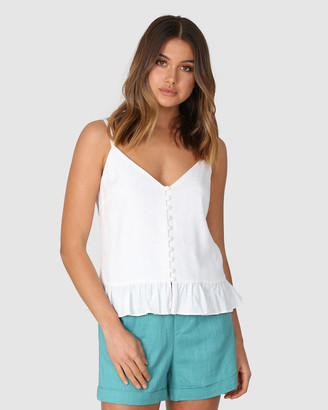 Lost in Lunar - Women's White Sleeveless Tops - Elsa Cami - Size One Size, 6 at The Iconic