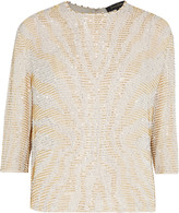 Jenny Packham Cropped bead and sequin-embellished silk-georgette top