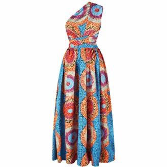 Squarex Women Dress squarex Women African Printing Long Dress Sleeveless Dashiki Party Dress