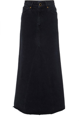 KHAITE Magdelena Dark-Wash Denim Maxi Skirt