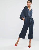 Asos Belted Satin Jumpsuit with Kimono Sleeve