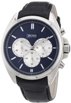 HUGO BOSS Mens Chronograph Stainless Steel Leather Quartz Watch 1512882