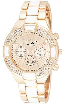 LA Time Womens Analogue Quartz Watch with Stainless Steel Gold Plated Strap 047L