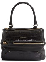 Givenchy Medium Pandora Croc Embossed Leather Shoulder Bag