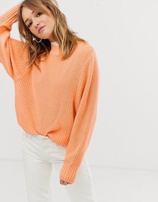 Monki crew neck sweater in peach