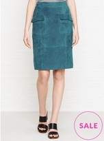 Reiss Lake Suede Pencil Skirt