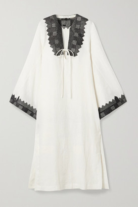 Fil De Vie Ourika Oversized Embroidered Linen Kaftan - White