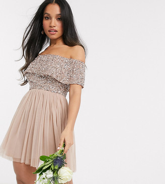 Maya Petite Bridesmaid bardot mini tulle dress with tonal delicate sequins in taupe blush