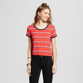 Mossimo Women's Baby Ringer T-Shirt Red with Navy Binding