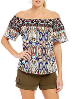 Soulmates Printed Off-The-Shoulder Button Back Top