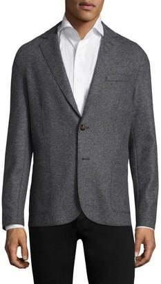 Eleventy Slim-Fit Laser-Cut Notch Lapel Flannel Wool Two-Button Jacket