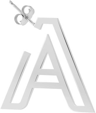 K Kane 14k White Gold Chain Letter Hoop Earring, Single