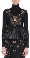 Givenchy Faux-Leather Pleated Bustier with Buckle, Black
