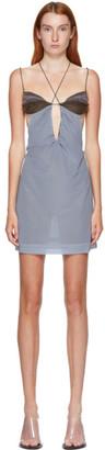 Nensi Dojaka SSENSE Exclusive Blue Draped Bodice Dress
