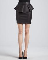 Torn By Ronny Kobo Gigi Leather Peplum Skirt, Black