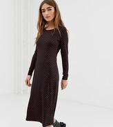 Glamorous Petite midi dress with long sleeves in polka dot