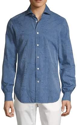 Kiton Regular-Fit Chambray Floral Shirt