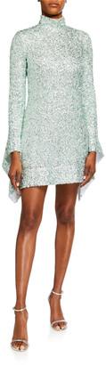 Halpern Sequined Mock-Neck Mini Dress